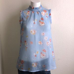 Who What Wear Sheer Floral Sleeveless Top Size S